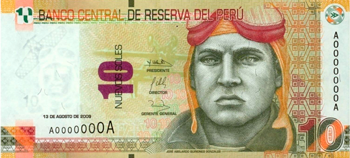 Peruvian bill of 10 soles front