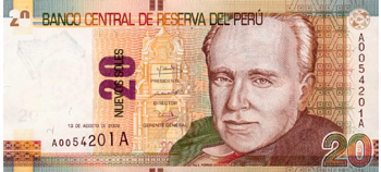 Peruvian bill of 20 soles front