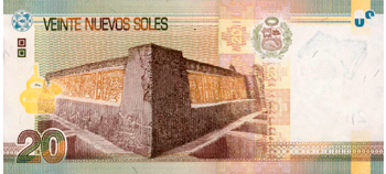 Peruvian bill of 20 soles back