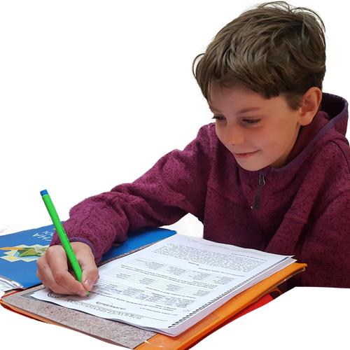 a boy learning spanish