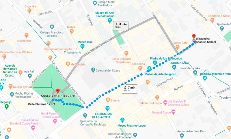 Map of Cusco, Main Square to Wiracocha School